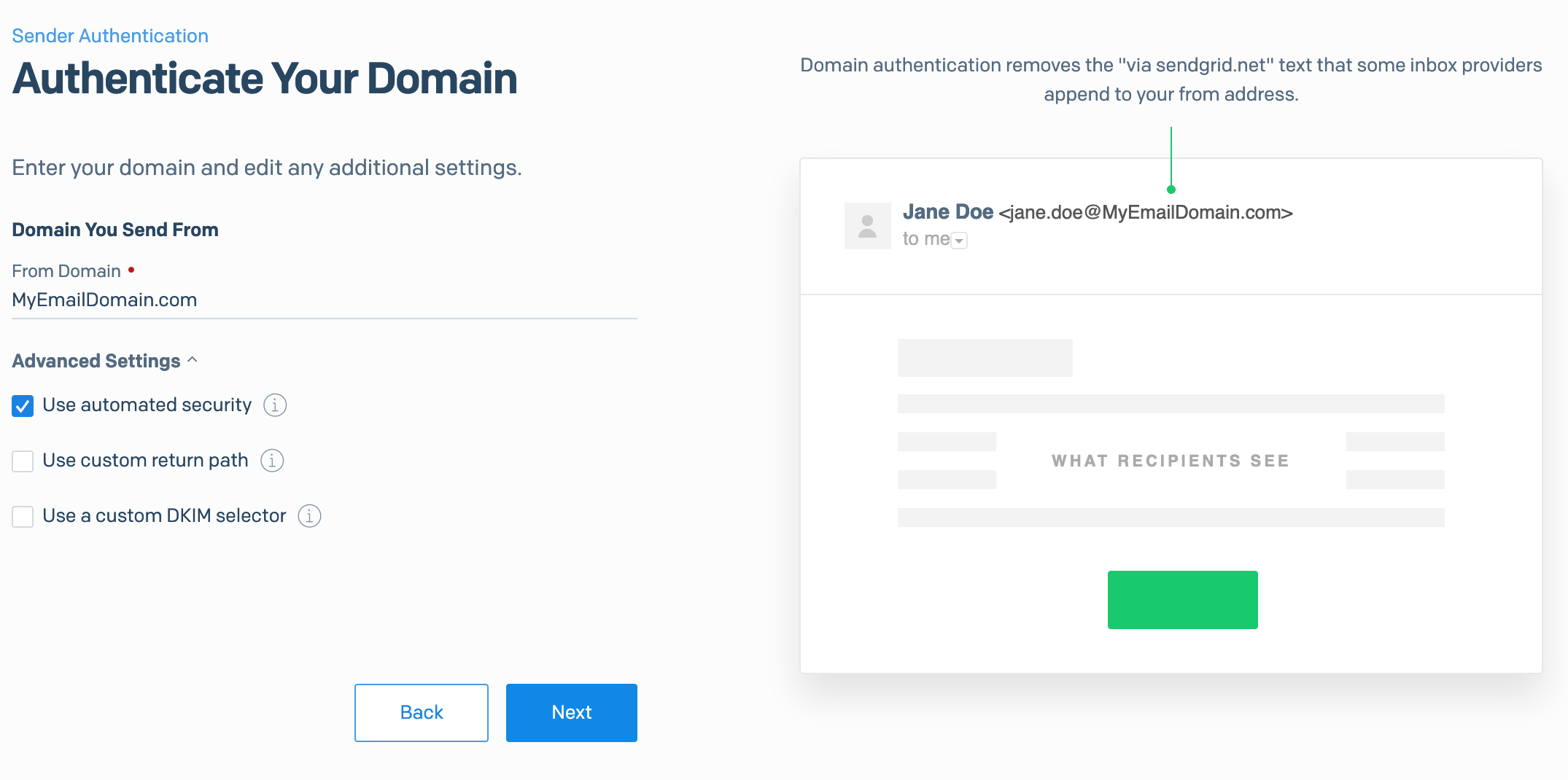 SendGrid - Domain Set up